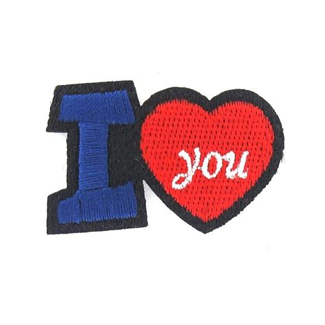 i love the applique i love you iron on applique blue red ma petite mercerie