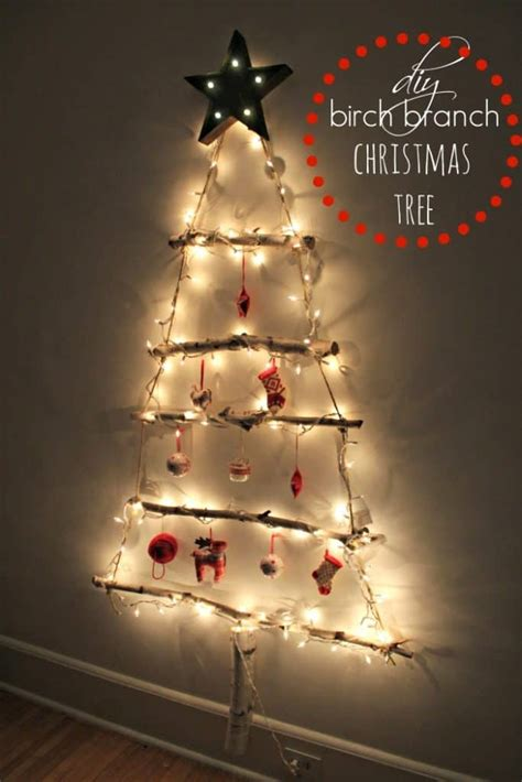 using a birch branch tree for a christmas tree awesome ideas to decorate for free this