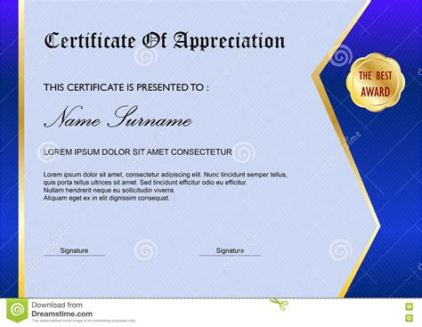 simple certificate template blue simple certificate diploma award template stock