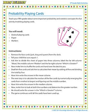printable probability games probability playing cards 5th grade probability activity