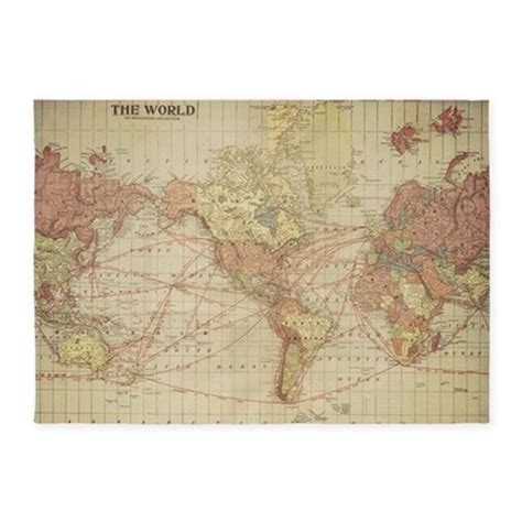 World Map Area Rug Vintage World Map 5 X7 Area Rug By Listing 122860481