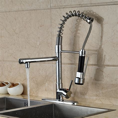 doubs deck mounted kitchen sink faucet  pull  spray