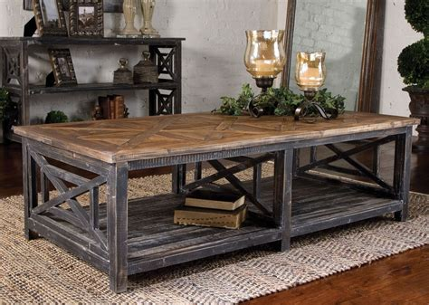 rustic country coffee table rustic french farmhouse parquet wood black gray coffee