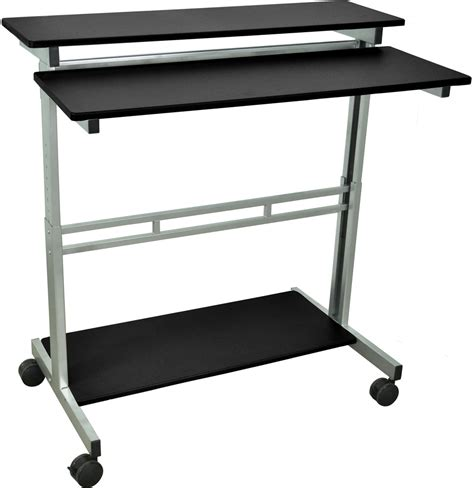 two tier desk in computer and laptop carts