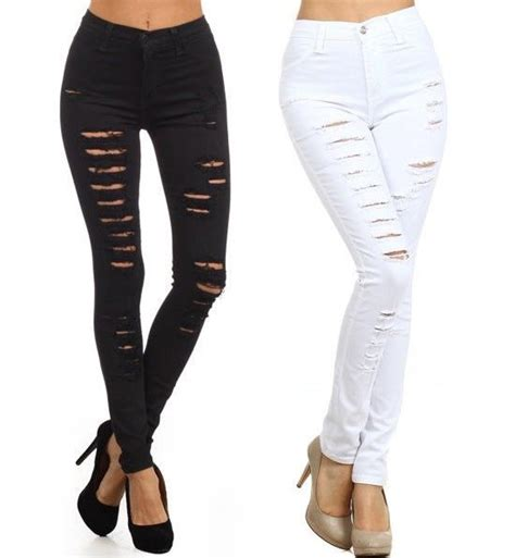 ripped black jeans womens bod jeans plus size black white denim high waist distressed ripped