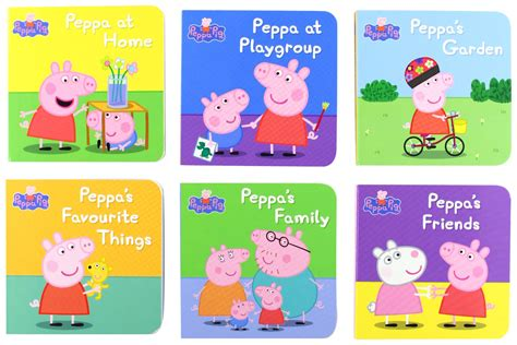 learning to peppa pig books peppa pig library 6 mini books 163 2 49 uk smug