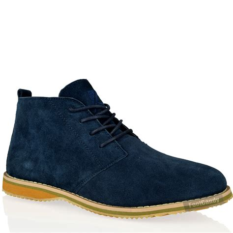 mens blue boots mens casual desert chukka mid lace up ankle flat leather