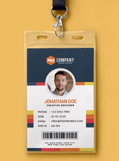 id card design template download employee id card template psd free download the letter