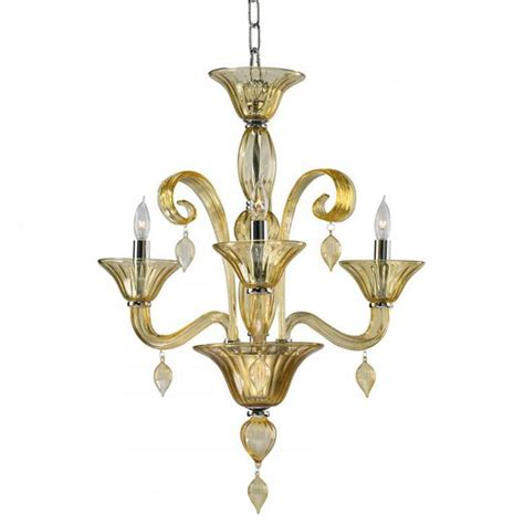 Treviso 3 Light Cascade Amber Murano Glass Mini Chandelier Small Glass Chandeliers