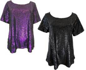 ladies black or purple sequin sparkling shiny plus size