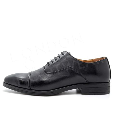 new mens formal work oxford shoes smart lace up capped toe