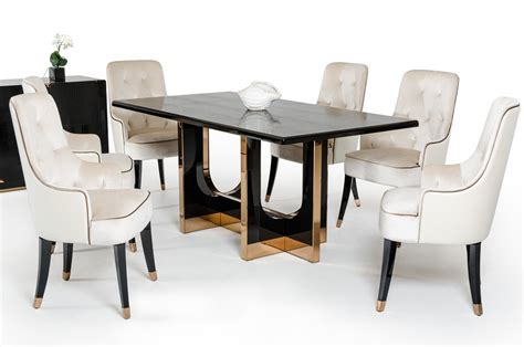 7 Piece Vig Modern Black Crocodile Dining Table Set