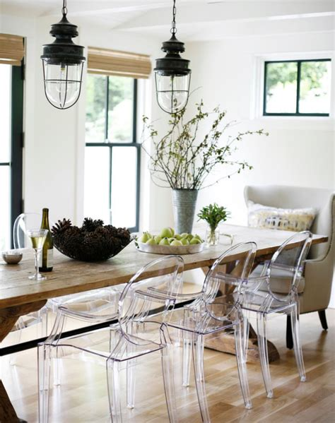 Design For Lucite Dining Chairs Ideas The Farm Table With Ghost Chairs Modern Farmhouse Rue Mag Ikea Decora