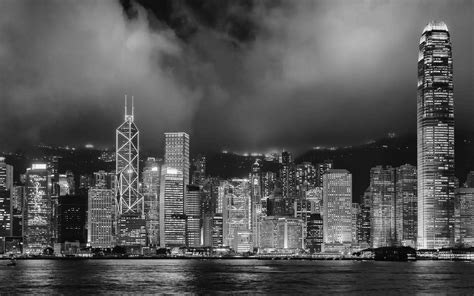 skyscraper wallpaper black and white hong kong buildings skyscrapers night bw black white