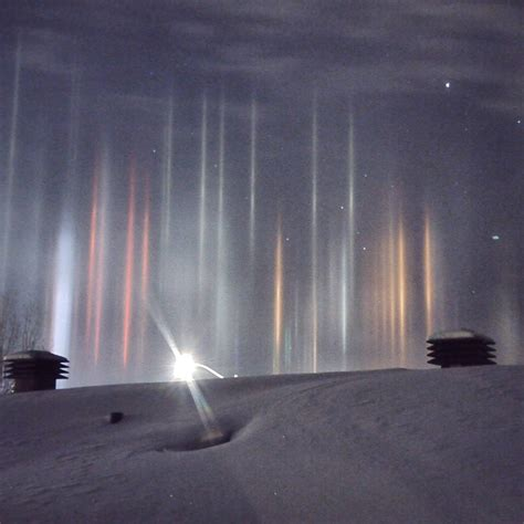 the amazing sight of colorful light pillars shooting
