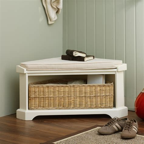 white corner bench white corner storage bench with basket railing stairs