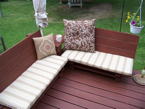 Outdoor Pallet Bench With Cushions Cushions For Pallet Patio Furniture