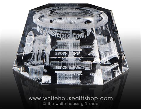 the white house gift shop white house monuments memorials hologram glass display or paperweight from the