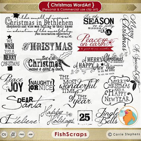 christmas wordart christmas scrapbooking titles by fishscraps