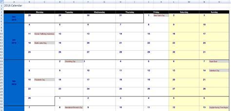 2016 Calendar Template Open Office   Calendar Template 2016