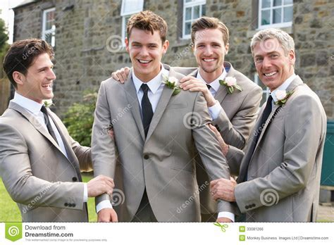 Groom With Best Man And Groomsmen At Wedding Royalty Free