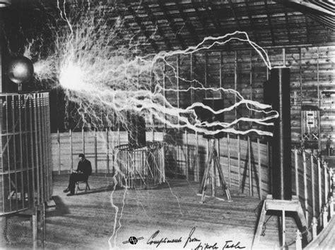 Tesla In His Lab Nikola Tesla Sitting In His Experimental Station