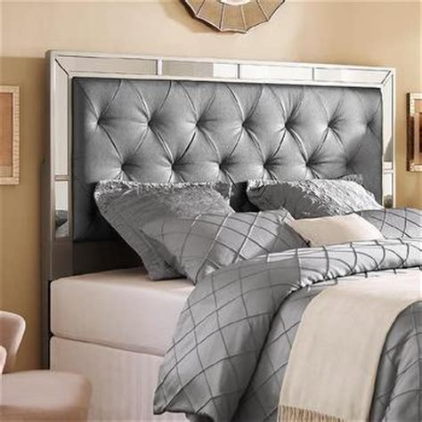 king size mirror headboard white vinyl tufted size bed overstock