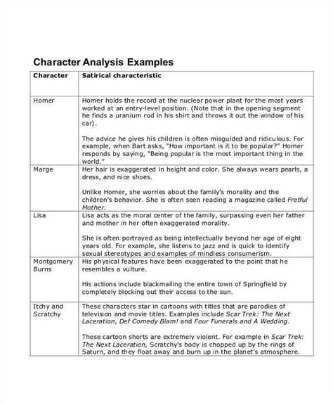 Exle Of Character Analysis Essay by Character Analysis 8 Exles In Word Pdf
