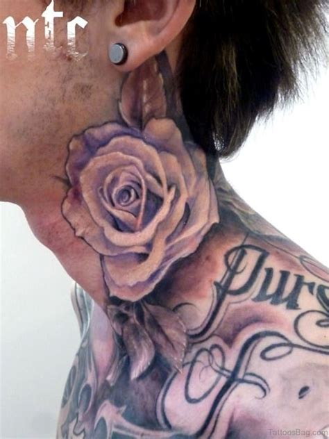 rose tattoos on neck 34 pleasant black neck tattoos