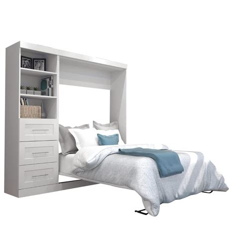 full wall bed bestar pur 84 quot full wall bed in white 26868 17