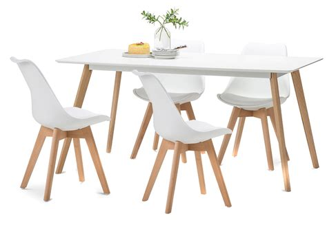 Scandi Dining Table White Scandi Dining Table Set With 4 White Padded Eames Chairs Coma Frique Studio 610fb4d1776b