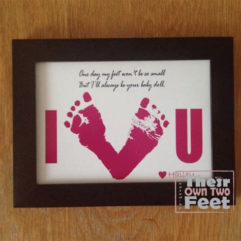 Handprint Birthday Cards Baby Footprints Card For New Dad Or Mom Gift From Baby Girl