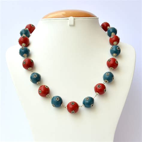 Handmade Bead Necklace - handmade necklace with blue metal