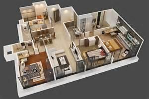 3d Layout Interior Project 3 Bhk Flat Layout 3d Pixel Studio