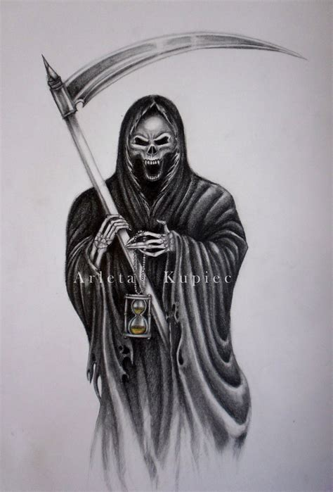 black and grey grim reaper with moon tattoo design by kacper