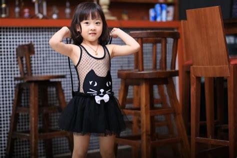 kitty patterned girls swimwear bikini swimsuit kids lace