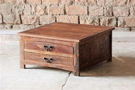 rustica upcycled square coffee table by tree