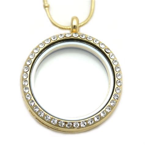 30mm gold memory locket necklace