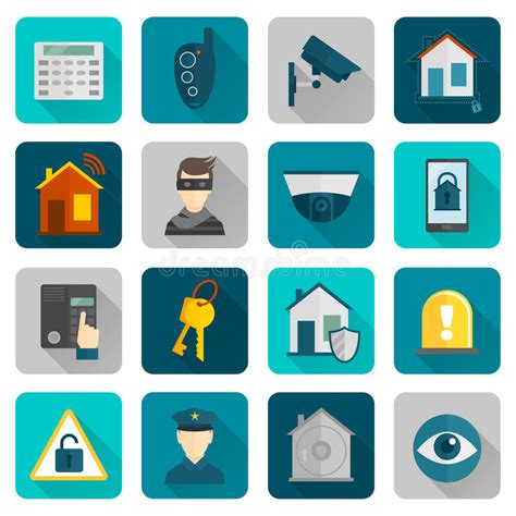 Alarm Mobil Vector home security icons flat stock vector image 47463160