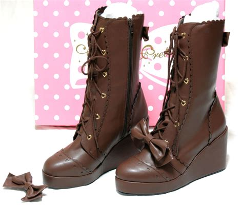 angelic pretty calf length boots brown tenshi shop