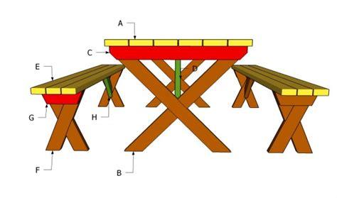 picnic table bench plans myoutdoorplans