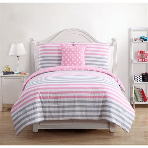 pink and gray bedding vcny kayla kids pink grey cotton 4 piece comforter set