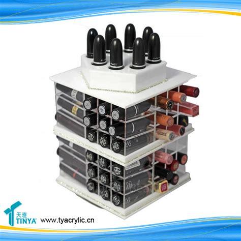 Tempat Kosmetik Lipstick Shelf Acrylic new product 360 degree 72 slots cosmetic nail retail display rotating acrylic