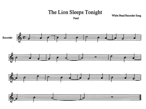 The Lion Sleeps Tonight Sheet Music For Recorder In G