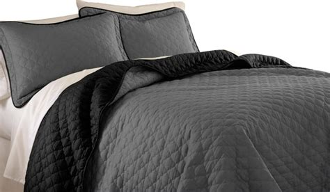 Black Quilts And Coverlets Reversible Two Tone Solid Color 3 Coverlet Set