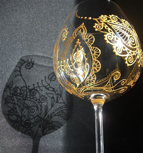 henna design on glass items similar to custom wine glass art mehndi designs for
