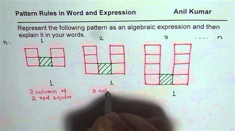 algebraic pattern rule finder write algebraic expression for pattern blocks youtube