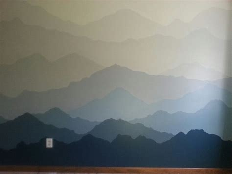 mountain wall murals painted mountains mural 12 5 x 8 for boys bedroom den area and more loved