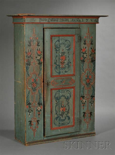Swedish Painted Pine Armoire, with plain projecting crest
