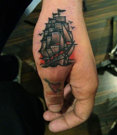 Tattoo On Hand Near Thumb | sailing frigate near thumb tattoo best tattoo ideas gallery